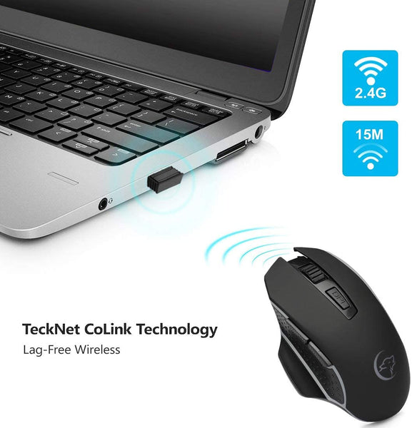 Wireless Mouse,Upgrade 2.4G Cordless Noiseless Computer Mouse with USB Receiver, Portable Mobile Mouse Optical Office Mice,4-Level DPI, 6 Buttons for Notebook, PC, Laptop,Computer,MacBook (Black) - MASS Wholesalers