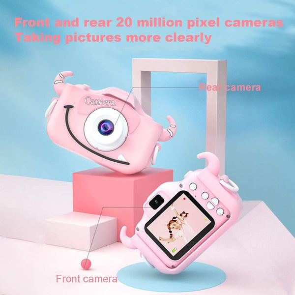 2020 Kids Camera for Girls and Boys-Digital Selfie Camera 2.0 inch IPS Screen Dual Camera Kids Video Recorder Toy Best Birthday Gifts for Age 3-10 Year Old with 32GB SD Card - MASS Wholesalers