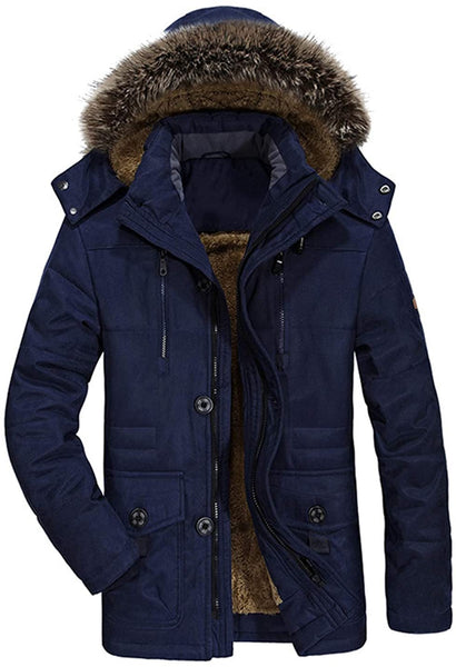 Lentta Men's Casual Winter Warm Thick Hooded Heavy Fleece Lined Parka Jacket Coat - MASS Wholesalers