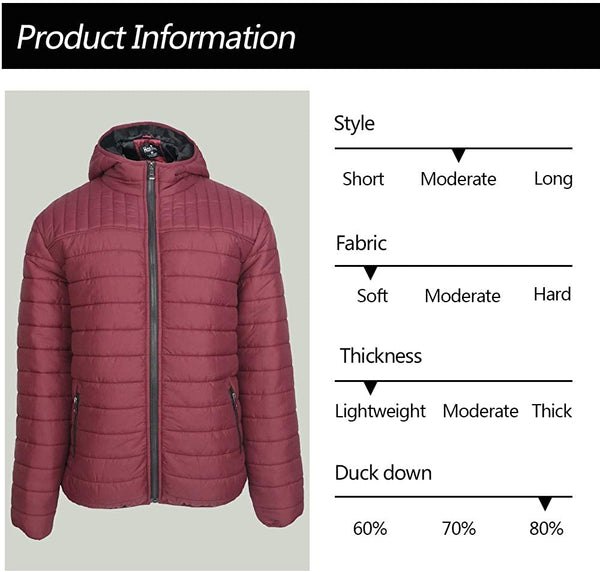 LeeHanTon Winter Coats for Men Lightweight Packable Jacket Hooded Outerwear Casual Puffer Insulated Fleece Cotton Coat - MASS Wholesalers