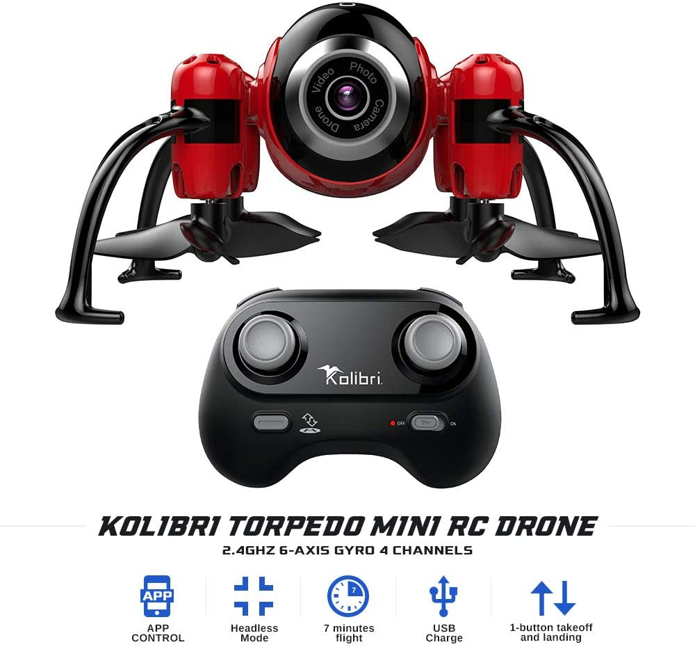 Kolibri Torpedo Mini RC Drone for Kids & Beginners, Best Small Drone with 480P Wi-Fi Camera Live Video Feed, 2.4GHz 6-Axis Gyro 4 Channels FPV App Controlled Quadcopter w/Headless Mode. - MASS Wholesalers