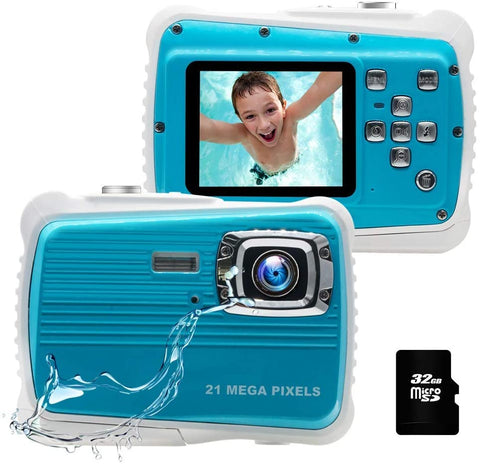 Kids Camera, 21MP HD 3M Waterproof Digital Camera for Kids, 2.0 Inch LCD Display, 8X Digital Zoom,Flash and Mic for Boys Girls Kids(Blue) (Renewed) - MASS Wholesalers