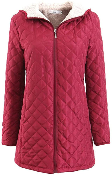 Raroauf Womens Quilted Jacket,Mid-Long Fleece Quilted Padded Coats with Hooded - MASS Wholesalers