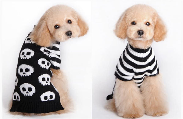 NACOCO Pet Sweaters Skeleton Sweater Skull Black White Sweater The Cat Dog Clothes Pet Clothing Little Puppy Dog Sweaters - MASS Wholesalers