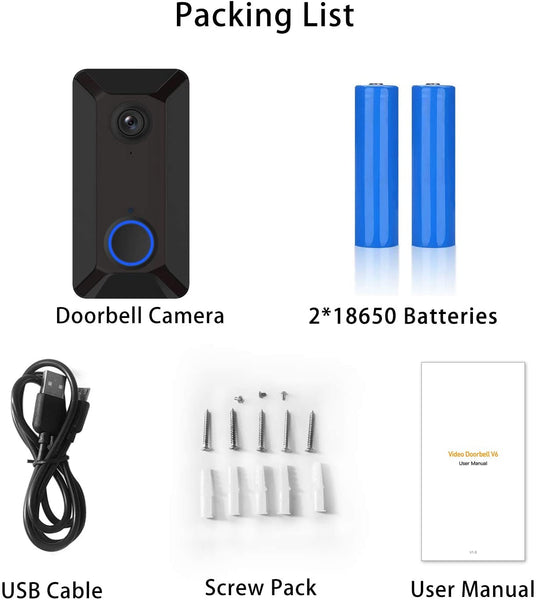 Wireless Video Doorbell Camera, Clear Picture and Video, IP55 Waterproof, Lifetime Free Cloud Storage, Batteries, Push Notification, Two-Way Talk, Wide Angle, Night Vision (Doorbell) - MASS Wholesalers