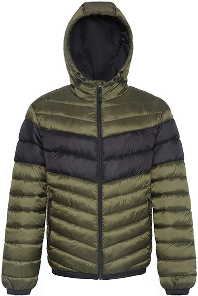 Men's Lightweight Water-Resistant Hooded Puffer Jacket Coat - MASS Wholesalers