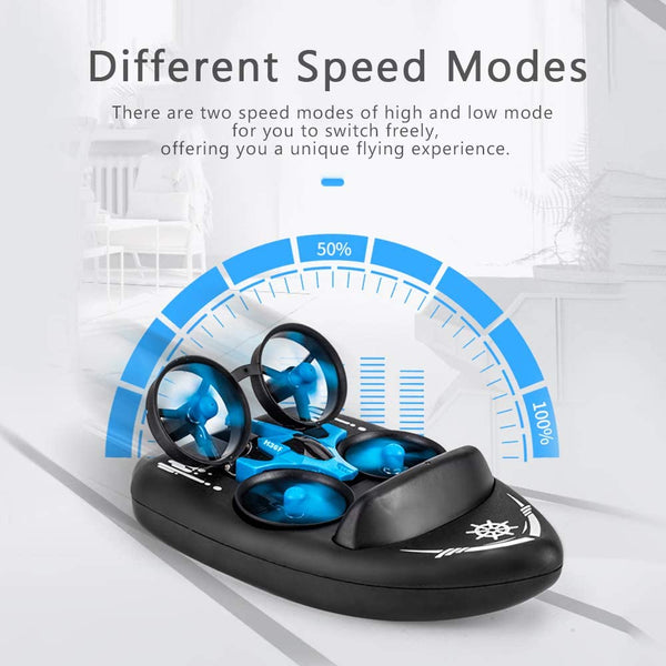 Mini Drone, Kids Toy Flying Toys RC Boats for Pools and Lakes, Remote Control Car for Kids, Sea-Land-Air Mode Switchable Hovercraft RC Quadcopter Helicopter Gifts for Boys Girls (JJRC H36F Mini Drone) - MASS Wholesalers