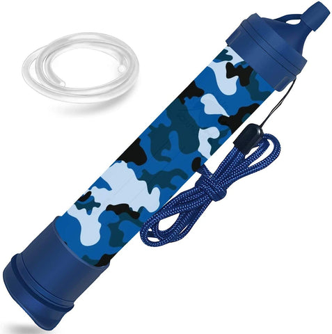 EHS Water Filter Straw Portable Personal Emergency Filtration Purifier for Camping, Hiking, Travel, Survival & Backpacking Gear, Filtering Solutions, Blue Camo, Includes 24 Inch Tubing - MASS Wholesalers
