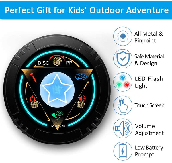 DR.ÖTEK Junior Metal Detector for Kids/Beginner, Exclusive DISC/Pinpoint Mode, Touch Screen, 8.3 Inch Waterproof Coil, Sound Alert, LED Flash Light, Adjustable Stem, Lightweight to Hunt Treasure - MASS Wholesalers