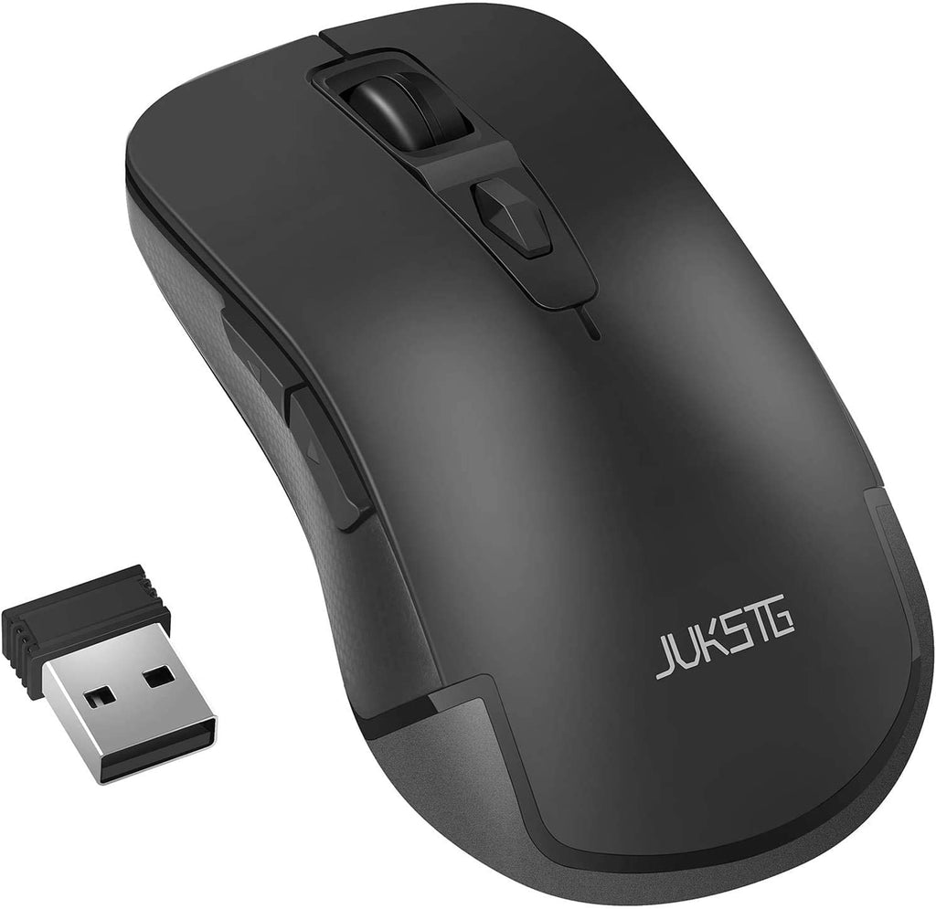 JUKSTG Wireless Mouse 2.4G Ergonomic Mouse with USB Nano Receiver, 3 Adjustable DPI Levels, 6 Buttons, Super Power Saving, for Computer with PC / Windows / Mac, Home&Office, Black - MASS Wholesalers