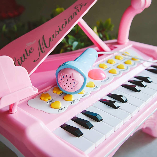 Sommer Kids Electronic Mini Piano Toy with Microphone and Phone Stand for Baby Girls 24 Keys Keyboard Pink Music Learning Instrument Toddlers 3+ Years - MASS Wholesalers