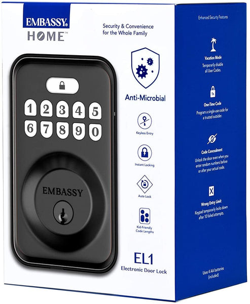 Embassy Keyless Entry Electronic Door Lock with Illuminated Antimicrobial Keypad and Security Deadbolt Lock, Store 20 Custom User Codes, Auto- and One-Button Locking, Front, Entryway, Garage or Office - MASS Wholesalers
