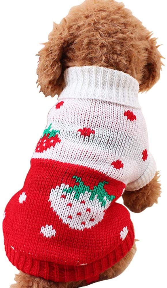 CHBORCHICEN Pet Dog Sweaters Classic Knitwear Turtleneck Winter Warm Puppy Clothing Cute Strawberry and Heart Doggie Sweater - MASS Wholesalers