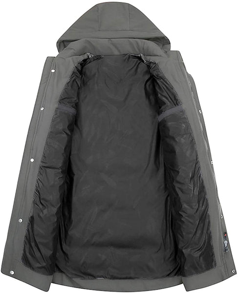 APTRO Men's Winter Stylish Warm Down Coat Long Jacket with Removable Hood - MASS Wholesalers