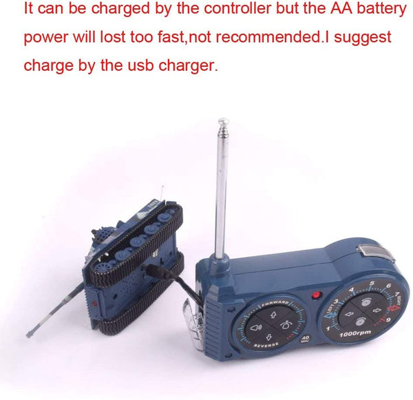 Fun-Here Remote Control Tank with USB Charger Cable Mini RC Army Military Toys Tank 1:72 German Tiger with Sound Artillery Shoots 40MHz (Blue) - MASS Wholesalers