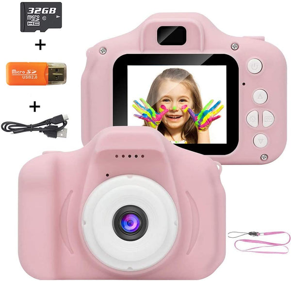 Kids Camera Digital Camera for Kids 5.0 MP FHD Digital Video Recorder Shockproof Action with 2 Inch IPS Screen and 32GB SD Card (Pink) - MASS Wholesalers