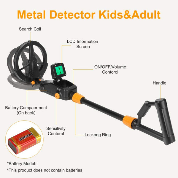 GLOBALDETECTOR Kid's Metal Detector Wand Handheld or Full-Size Handle, Junior Design with Lights and Sounds, Detects Metals, Jewelry, Coins, Beach, Outdoor Use - MASS Wholesalers