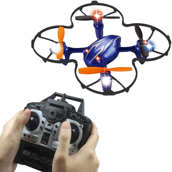 SKYKING F035 Mini Drone with 480p Camera for Kids, RC Quadcopter Pocket Beginners Drone with 2.4 GHz 4CH 6-Axis Gyro/Altitude Hold/3D Flips/One-Key Return/Headless Mode (Blue) - MASS Wholesalers