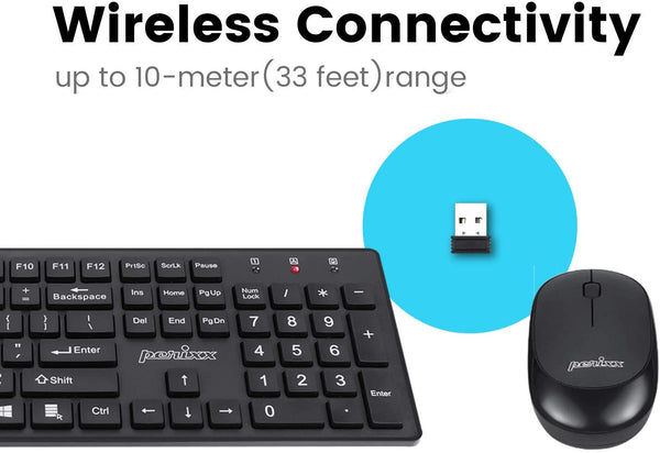 Perixx PERIDUO-717 Wireless Standard Keyboard and Mouse Combo-Set with Big Print Letter, Black, US English Layout - MASS Wholesalers