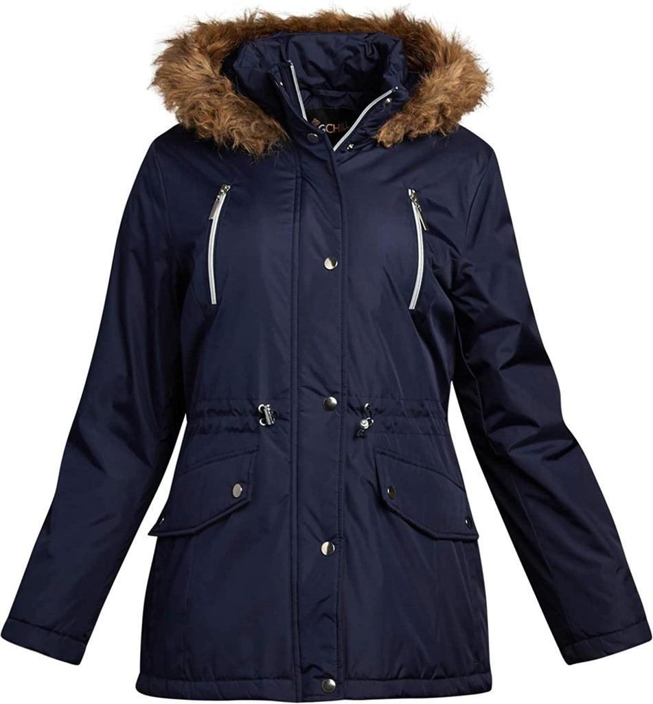 Big Chill Women's Winter Coat – Heavyweight Parka Anorak Long Length Jacket with Faux-Fur Trim Hood - MASS Wholesalers