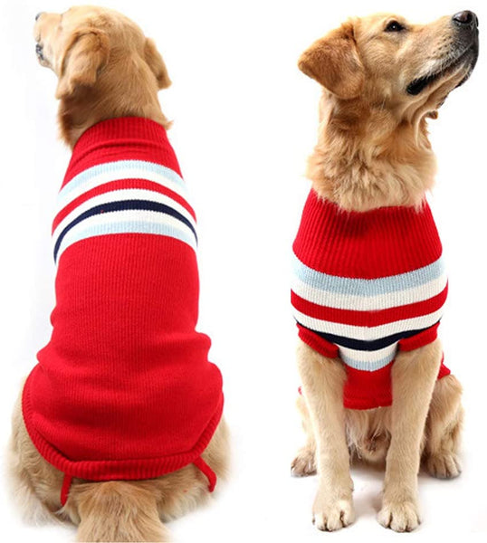 Didog Dog Classic Style Stripes Turtleneck Sweater Winter Warm Clothing for Medium and Large Dog - MASS Wholesalers