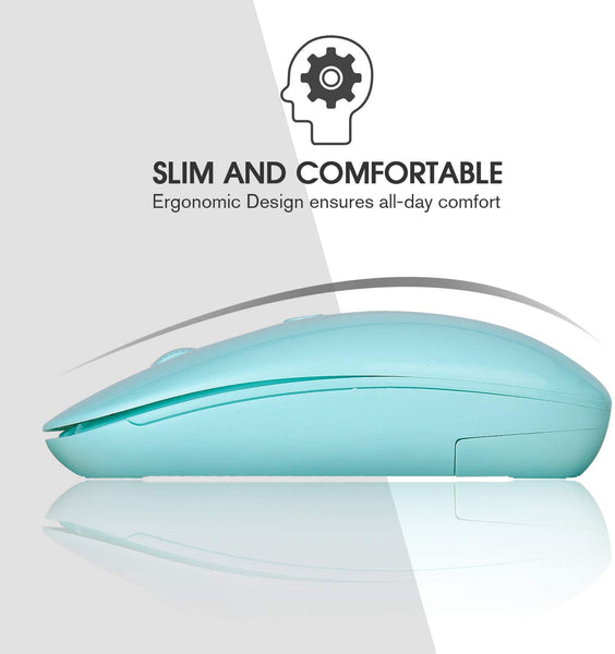 Wireless Mouse(New Upgrade),Rii RM800 2.4G Silm Wireless Mouse with USB Receiver,Computer Mice,Light Weight Mouse for PC ,Laptop,Windows/Mac/Linux,Mint Green (RM800) - MASS Wholesalers
