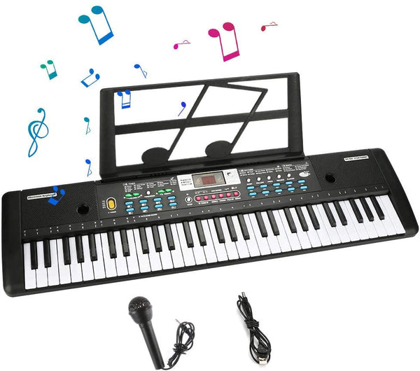 Tencoz Electronic Keyboard Piano 61 Key, Portable Piano Keyboard with Music Stand, Microphone, Power Supply Digital Music Piano Keyboard for Kids - MASS Wholesalers