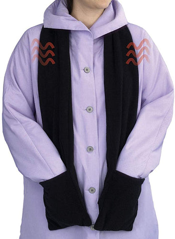 "Bits and Pieces - Micro Fleece Battery-Operated Heated Scarf - 66"" Long Neckwear with Pockets - MASS Wholesalers"