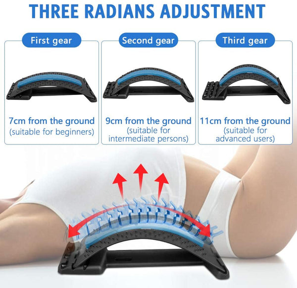 Back Stretcher, Torjim Multi-Level Lumbar Stretching Device, Adjustable Back Massager Pain Relief for Herniated Disc, Sciatica, Scoliosis, Lower and Upper Back Stretcher Support - MASS Wholesalers