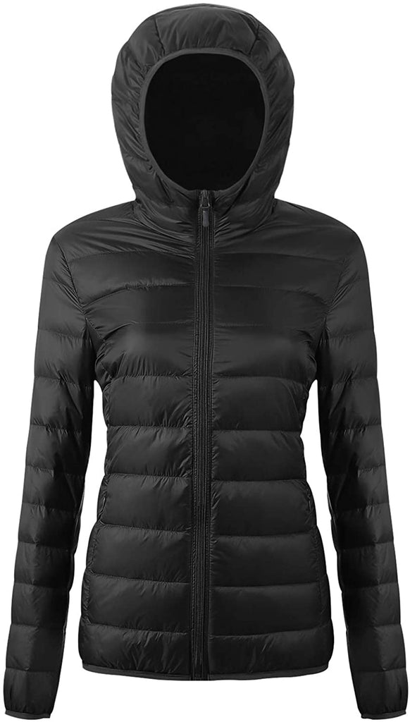 Women's Hooded Packable Down Jacket Ultra Light Weight Short Puffer Coat with Travel Bag Black - MASS Wholesalers