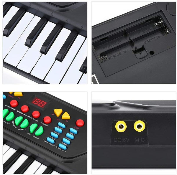 Piano Keyboard for Kids 37 Keys Multifunction Electronic Digital Kids Midi Piano Keyboard Musial Instrument with Microphone Early Learning Educational Toy Xmas Birthday Gift - MASS Wholesalers