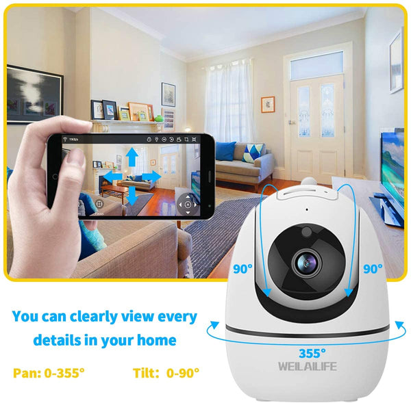 Baby Monitor Camera, 1080P Home Wireless Security Camera, Indoor WiFi Pan/Tilt/Zoom Cam for Elder/Nanny/Pet/Dog, 2 Way Audio, Phone App Control, Motion Detection - MASS Wholesalers