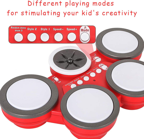 M SANMERSEN Kids Drum, Drums for Boys Portable Toy Drum with Adjustable Volume/Speed Musical Instruments Toys Learning Gift for Girls Children - MASS Wholesalers