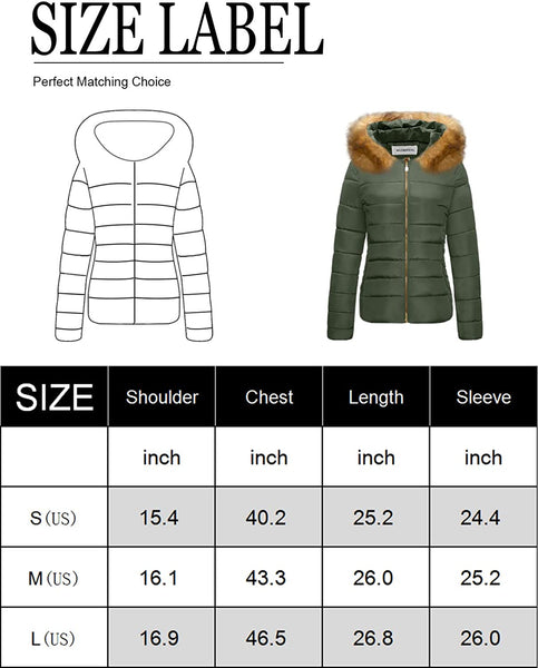 CHERFLY Women's Faux Fur Trim Winter Coat Warm Thickened Puffer Jacket with Hood - MASS Wholesalers