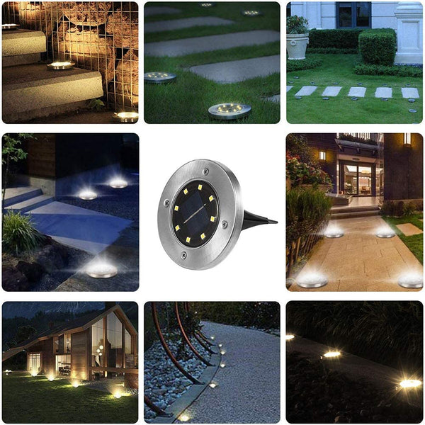 Solar Ground Lights, 8 LED Waterproof Solar Lights Outdoor, FREECUBE In-Ground Solar Garden Lights Disk Landscape Outdoor Lighting, Bright Warm White LED Lights for Lawn Pathway Yard Driveway, 4 Pack - MASS Wholesalers