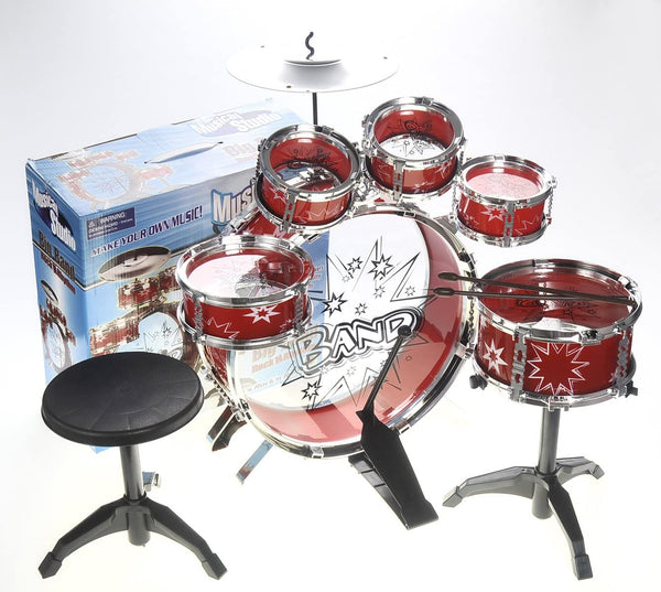 PowerTRC Musical Drum Instrument Set | Toy Drum For Kids | Set Includes 6 Drums, Cymbal, Chair, Kick Pedal, Drumsticks | Red - MASS Wholesalers