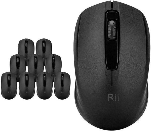 Rii Wireless Mouse 1000 DPI for PC, Laptop, Windows,Office Included Wireless USB dongle (Black) - MASS Wholesalers