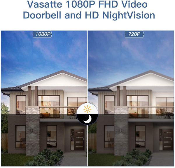 1080P WiFi Video Doorbell Camera, Two-Way Audio, IP65 ,Night Vision - MASS Wholesalers