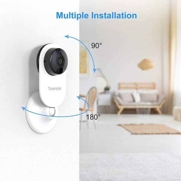Tovendor Mini Smart Home Camera, 1080P 2.4G WiFi Security Camera Wide Angle Nanny Baby Pet Monitor with Two Way Audio, Cloud Storage, Night Vision, Motion Detection - MASS Wholesalers