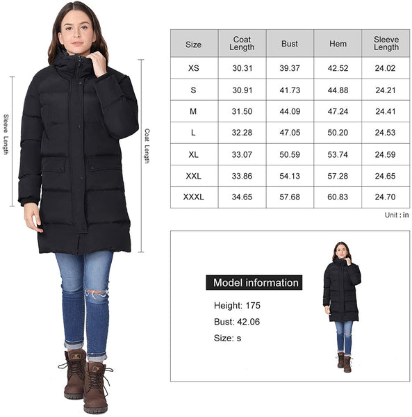 CAMEL Women Puffer Long Coat Thickened Hooded Jacket Windproof parkas for Outdoor Winter - MASS Wholesalers