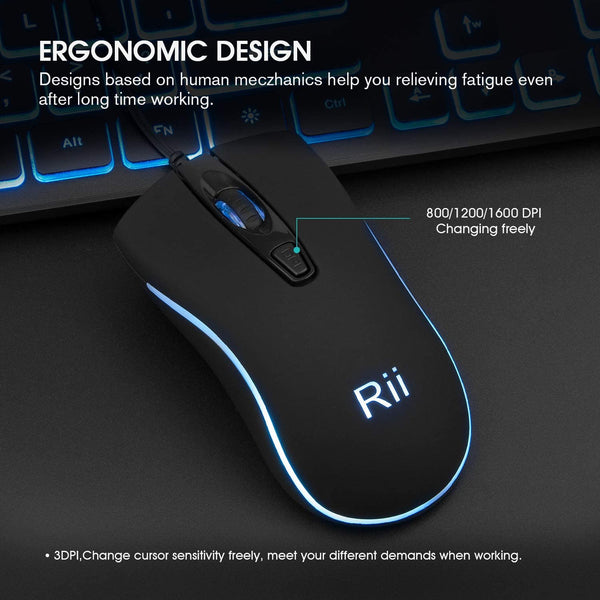 Rii RM105 Wired Mouse,Colorful RGB Backlit,3 Adjustable DPI Levels,Comfortable Grip Ergonomic Optical,USB Wired Mice Compatible with Windows PC, Laptop,Desktop,Notebook (1 Pack) - MASS Wholesalers