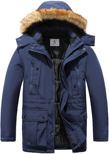 JYG Men's Winter Thicken Coat Warm Parka Jacket with Removable Hood - MASS Wholesalers