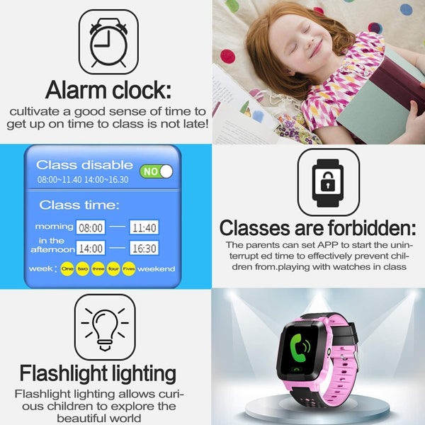 Kids Smart Watch, Enow Waterproof LBS Tracker Children Smartwatch for 3-12 Years Old, with SOS Call Camera Flashlight Alarm Activity 1.44'' Touch Screen, Christmas Birthday Gifts for Kids - MASS Wholesalers