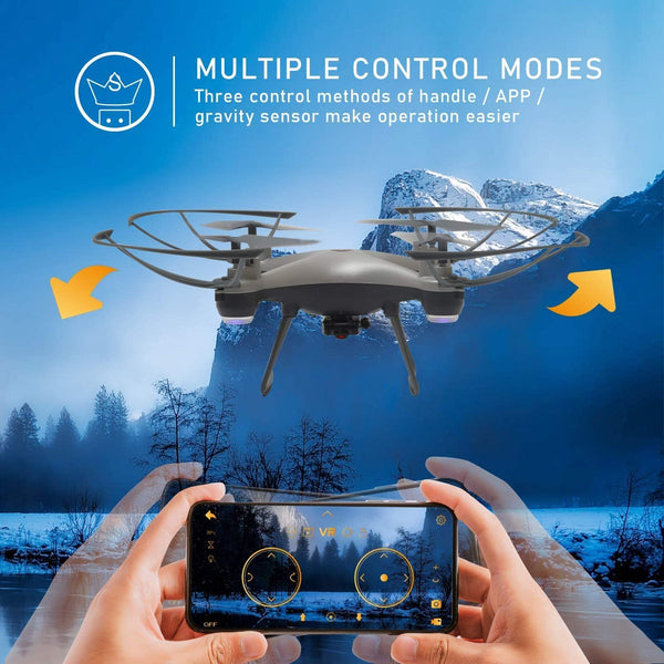 WiFi FPV Drone F033 RC Quadcopter with 480P HD Camera Live Video Beginner Drones with Altitude Hold/3 Speed/Headless Mode/3D Flips/Gravity Sensor/One Key Take Off Landing/VR Mode - MASS Wholesalers