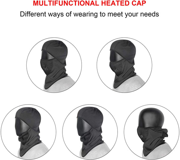 USB Heated Balaclava, Wire Control Winter Heated Hat Lightweight Windproof Ski Mask for Motorcycle Riding Men Women (No Battery), Black - MASS Wholesalers