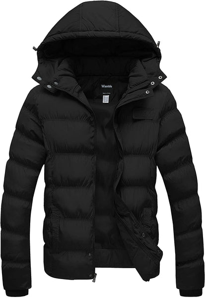 Wantdo Men's Hooded Winter Coat Warm Puffer Jacket Thicken Cotton Coat with Removable Hood - MASS Wholesalers