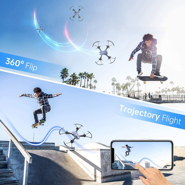 SNAPTAIN A10 Mini Foldable Drone with 720P HD Camera FPV WiFi RC Quadcopter w/Voice Control, Gesture Control, Trajectory Flight, Circle Fly, High-Speed Rotation, 3D Flips, G-Sensor, Headless Mode - MASS Wholesalers