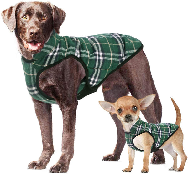 Large Dogs Plaid Fleece Dog Winter Coat - MASS Wholesalers