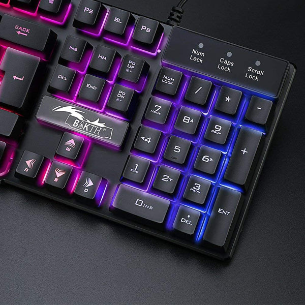 BAKTH Multiple Color Rainbow LED Backlit Mechanical Feeling USB Wired Gaming Keyboard and Mouse Combo for Working or Game (Renewed) - MASS Wholesalers