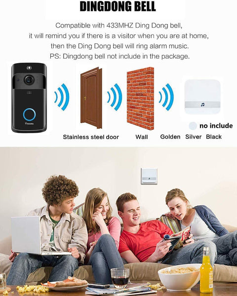 Video Doorbell [2020 Upgrade] Wireless Doorbell Camera IP5 Waterproof HD WiFi Security Camera Real-Time Video for iOS&Android Phone, Night Light (Black) - MASS Wholesalers